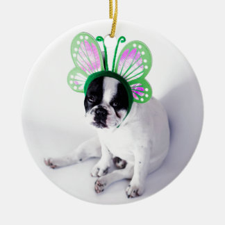 Funny French Bull Dog Black and White Butterfly Ceramic Ornament