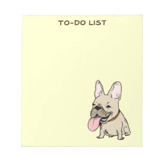 Funny French Bulldog Drawing with Custom Text Notepad