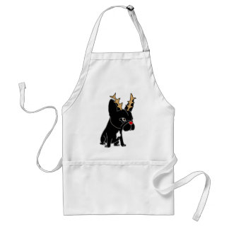 Funny French Bulldog with Reindeer Antlers Standard Apron