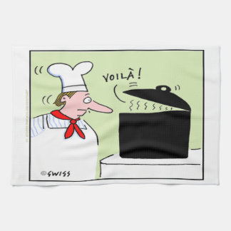 Funny French Chef Gourmet Cartoon Kitchen Towel