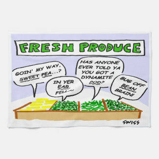 Funny Fresh Vegetables Cartoon Kitchen Towel