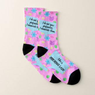 """Funny """"Fricking Lady"""" Happy Pink Floral Socks"""
