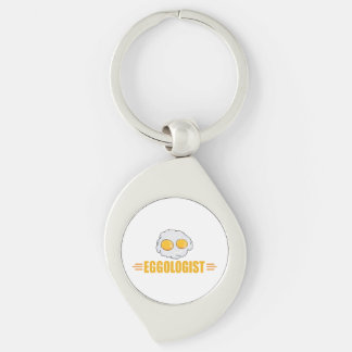 Funny Fried Eggs Silver-Colored Swirl Keychain