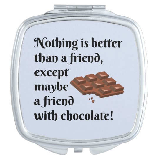 Funny Friends With Chocolate Black Text Compact Mirrors