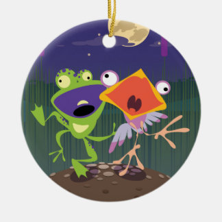 Funny Frog and Bird Ceramic Ornament