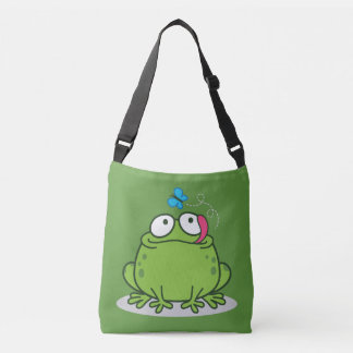 Funny frog and butterfly design crossbody bag