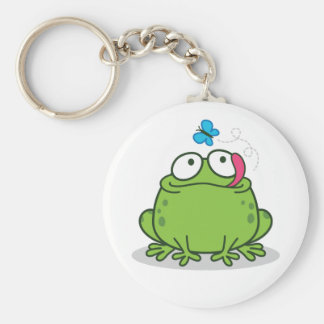 Funny Frog and Butterfly Design Keychain