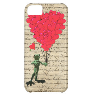 Funny frog and heart balloons case for iPhone 5C