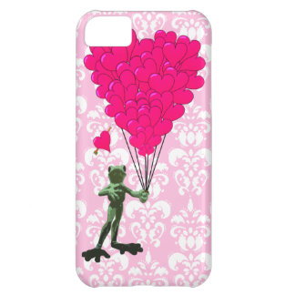 Funny frog cartoon & pink heart on damask case for iPhone 5C