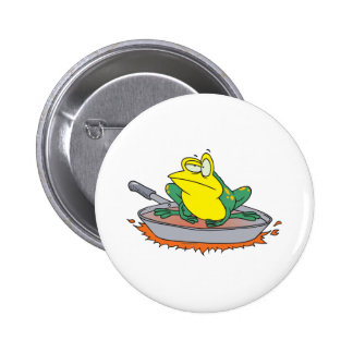 funny frog in a frying pan cartoon 2 inch round button