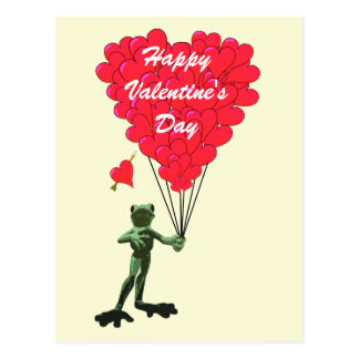 Funny frog love heart Valentines Post Cards
