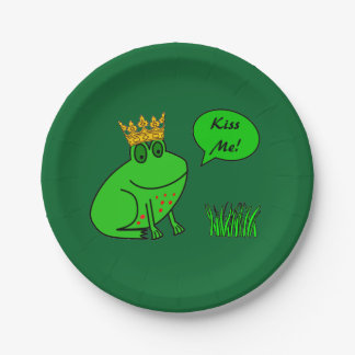 Funny Frog Prince - Kids Party Paper Plates 7 Inch Paper Plate