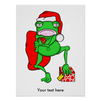Funny Frog Wearing A  Red Santa Claus Hat Poster