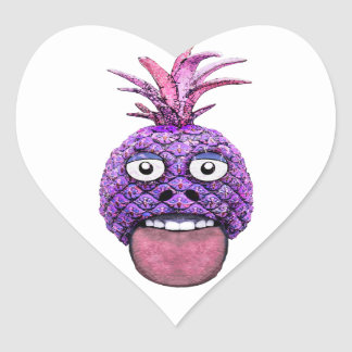 Funny Fruit Face Head Character Heart Sticker