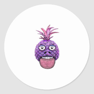 Funny Fruit Face Head Character Round Sticker