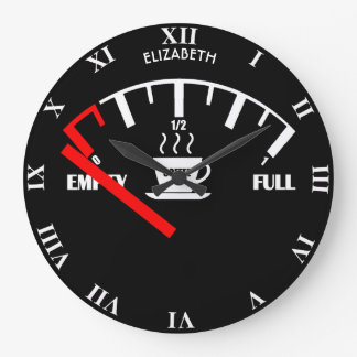 Funny Fuel Gauge Coffee Mug Time To Get Coffee Large Clock