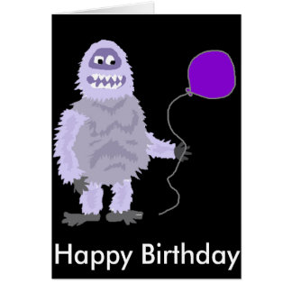 Funny Funky Abominable Snowman Holding Balloon Card
