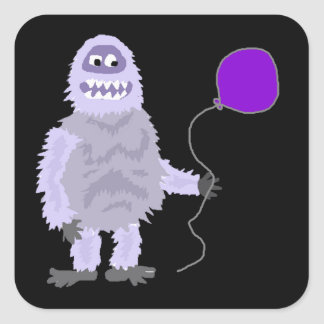 Funny Funky Abominable Snowman Holding Balloon Square Sticker