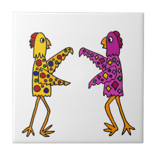 Funny Funky Chickens Dancing Ceramic Tiles