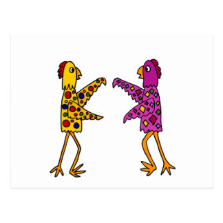 Funny Funky Chickens Dancing Postcard