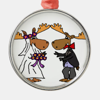 Funny Funky Moose Wedding Cartoon Art Metal Ornament