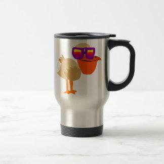 Funny Funky Pelican Wearing Sunglasses Art Travel Mug