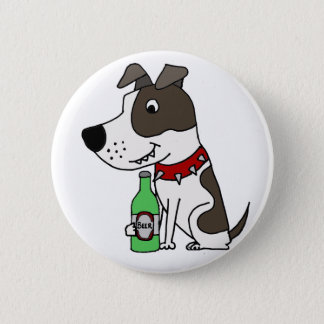 Funny Funky Pit bull Drinking Beer Cartoon 2 Inch Round Button