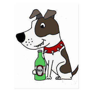 Funny Funky Pit bull Drinking Beer Cartoon Postcard