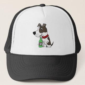 Funny Funky Pit bull Drinking Beer Cartoon Trucker Hat