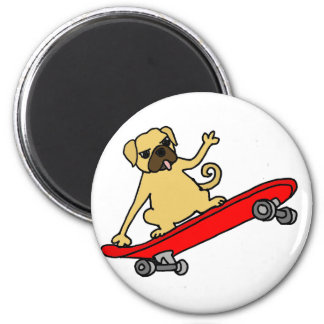 Funny Funky Pug Skateboarding 2 Inch Round Magnet
