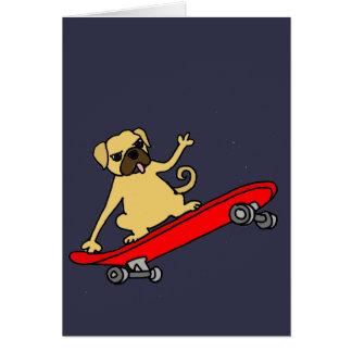 Funny Funky Pug Skateboarding Card