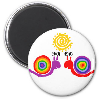 Funny Funky Rainbow Snail Love Abstract Art 2 Inch Round Magnet