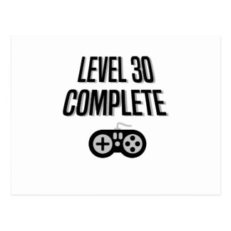 Funny Gamer 30th Birthday  Level 30 Complete Postcard