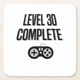 Funny Gamer 30th Birthday  Level 30 Complete Square Paper Coaster