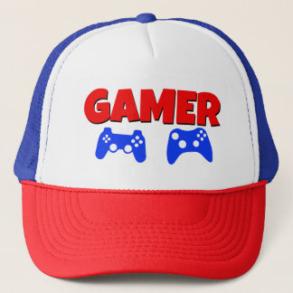 Funny Gamer Hat Red and Blue