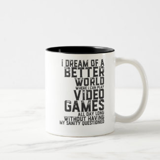 Funny Gamer Quote for Gaming Nerd Video Game Geek Two-Tone Coffee Mug