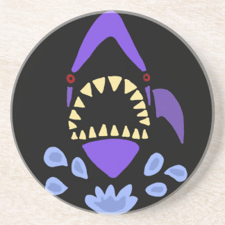 Funny Gaping Shark Art Abstract Drink Coaster