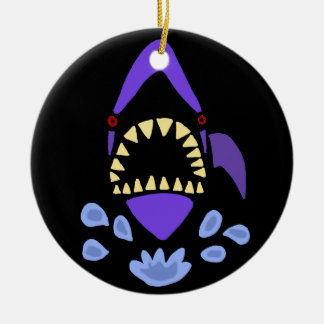 Funny Gaping Shark Art Abstract Round Ceramic Ornament