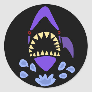 Funny Gaping Shark Art Abstract Round Sticker
