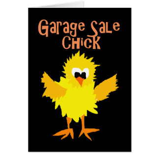 Funny Garage Sale Chick Cartoon Card