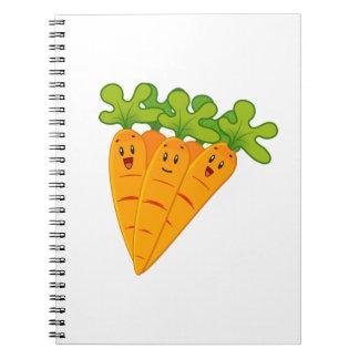 Funny garden carrots spiral notebooks