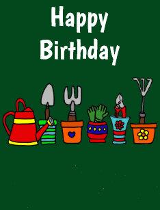 Funny Gardening Tools In Flower Pots Art Card