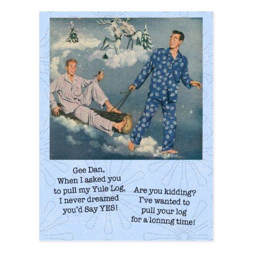 Funny Gay Yule Log Postcard