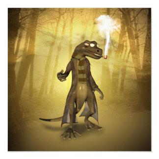 """Funny gecko 5.25"""" square invitation card"""