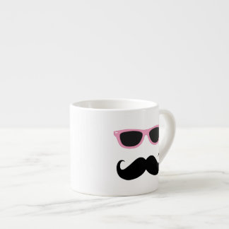 Funny Geeky Pink Sunglasses with mustache Espresso Cup