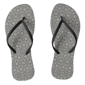 Funny Geometric Pattern Stars Silver Gray Elegant Flip Flops