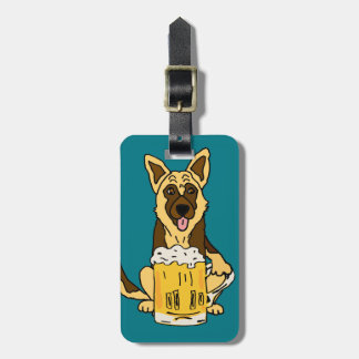 Funny German Shepherd Dog Drinking Beer Art Luggage Tag