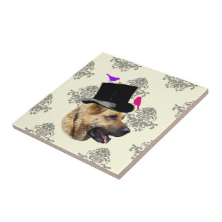 Funny German shepherd dog Tile