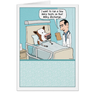 Funny Get Well Card: Cow Hospital Greeting Card