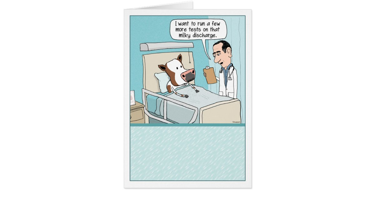 funny get well card  cow hospital greeting card